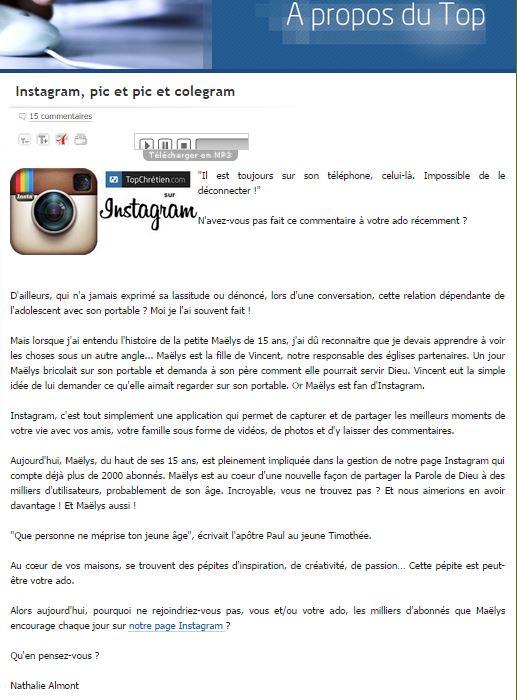 Instagram, pic et pic et colegram