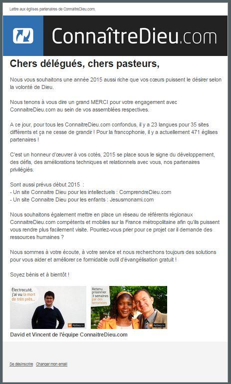 Lettre aux églises partenaires de ConnaitreDieu.com n°16